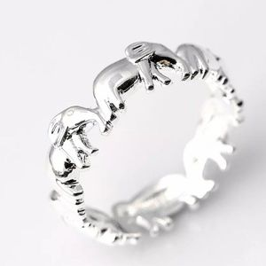 NEW Silver Lucky Elephant Eternity Band Ring